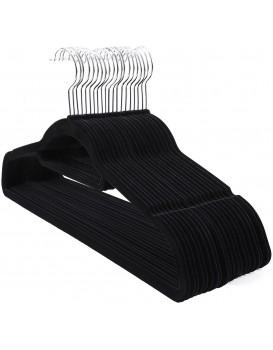 Velurové ramínko na oděvy 20 kusů - černé