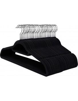 Velurové ramínko na oděvy 50 kusů - černé