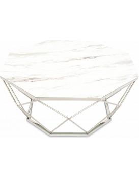 Konferenční stolek VOLARE 100 cm bílý/stříbrný