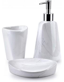 Sada koupelnových doplňků Odette Marble bílá