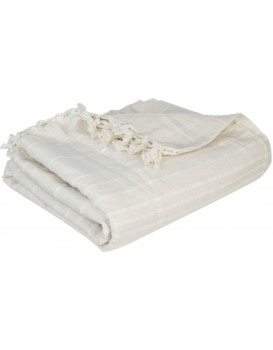 Přehoz na postel se střapci Ollina 230x250 krémová