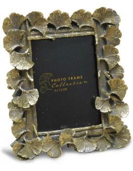 Stojící fotorámeček s listmi Aisha 17x15 cm zlatý