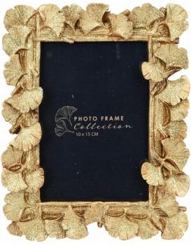 Stojící fotorámeček s listmi Aisha 20x16 cm zlato-měděný