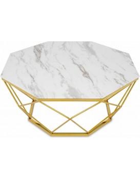 Konferenční stolek VOLARE 100 cm bílý/zlatý