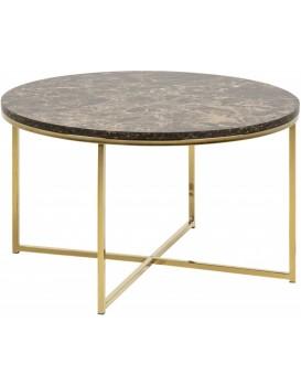 Konferenční stolek Glasgow V 80 cm mramor hnědý/zlatý