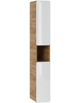 Koupelnová skříňka ARUBA 170x25x39 cm bílá lesklá/dub