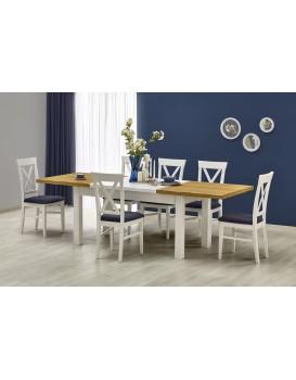 Rozkládací jídelní stůl Leonardo bílý/dub medový
