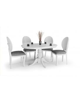 Rozkládací kulatý jídelní stůl Villian bílý
