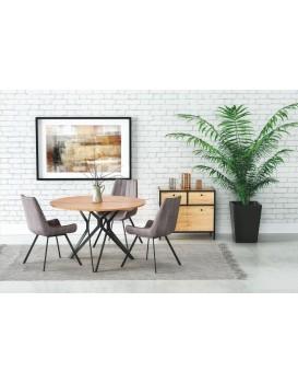 Kulatý jídelní stůl Unit dub zlatý/černá