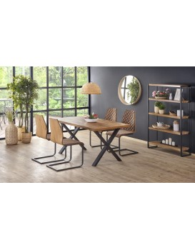 Rozkládací jídelní stůl Xaver dub světlý/černá