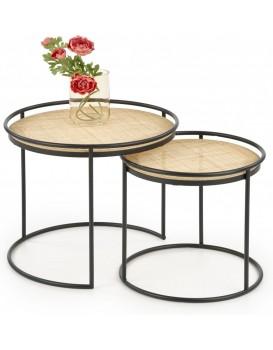 Konferenční stolek Mona přírodní ratan / černý