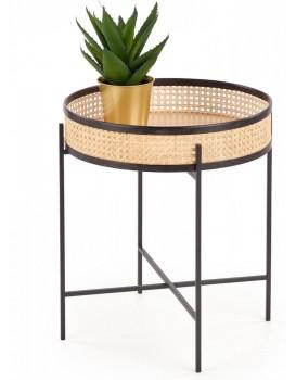 Konferenční stolek Lanipa přírodní ratan/černá