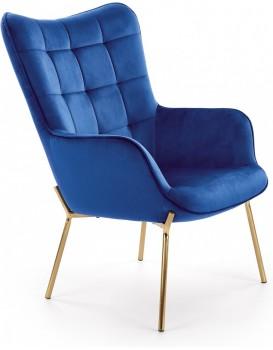 Čalouněné křeslo Costel2 tmavě modré/zlatá
