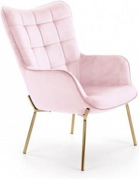 Čalouněné křeslo Costel2 světle růžové/zlatá
