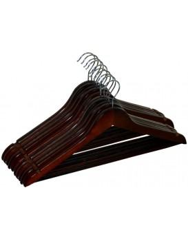 Dřevěná ramínka RONDO 10 kusů - tmavě hnědá
