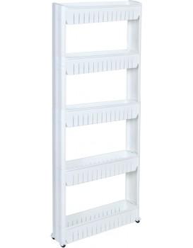 Regál na kolečkách - 5 polic bílý