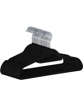 Sada velurových ramínek na oděvy Mano 20 kusů černá