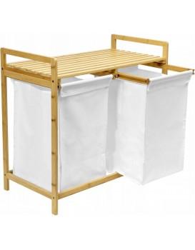 Vysouvací bambusový koš na prádlo HANOI hnědo-bílý - 2 přihrádky