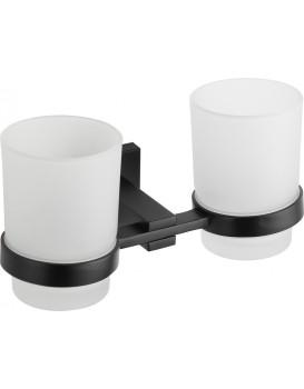 Dvě skleničky na zubní kartáčky s úchytem MEXEN VANE černé
