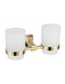 Dvě skleničky na zubní kartáčky s úchytem MEXEN VANE zlaté