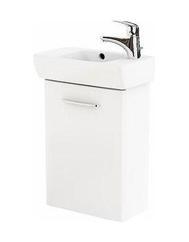 Umyvadlová skříňka s umyvadlem KOŁO NOVA PRO pravá - bílý lesk