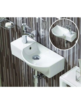 Keramické umyvadlo klasické MEXEN HUGO 45x24 cm bílé - pravá