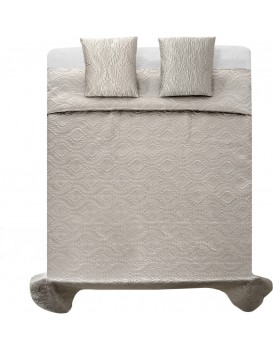 Přehoz na postel Verona + 2 povlaky na polštář stříbrné