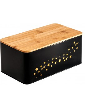 Chlebník s bambusovou deskou Star černý