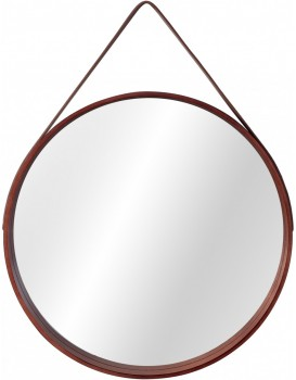 Kulaté zrcadlo Loft 59 cm dřevěné hnědé