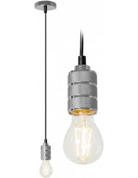Lustr žárovka chromový matný