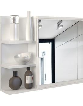 Koupelnové zrcadlo s poličkou LUMO levé - bílé