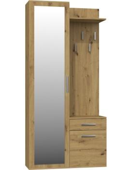 Předsíňová skříň se zrcadlem a šuplíky- DUO- DUB artisan