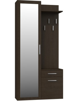 Předsíňová skříň se zrcadlem a šuplíky- DUO WENGE