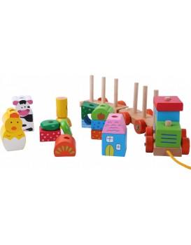 Dřevěný vláček na šňůrce Eco Toys