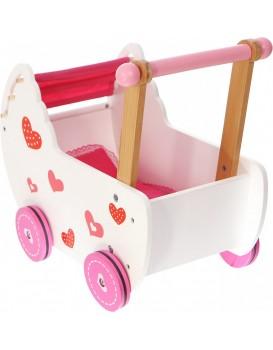 Dřevěný kočárek pro panenky Eco Toys se srdíčky