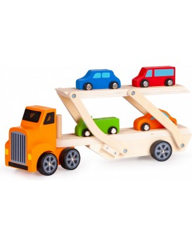 Dřevěný náklaďák + 4 autíčka