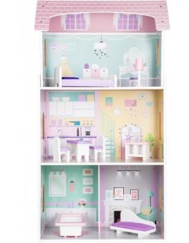 Dřevěný domeček pro panenky růžový