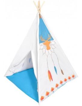 Dětský stan Indiánský vigvam IPLAY modro-bílý