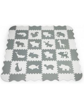 Pěnová puzzle podložka Animals šedá - 36 kusů