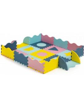 Pěnová puzzle podložka Shapes barevná - 25 kusů