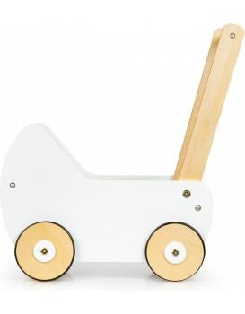 Dřevěný kočárek pro panenky EcoToys bílo-hnědý