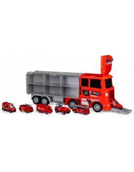 Tahací vůz Požárníci + 6 autíček