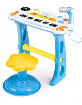 Dětský keyboard s mikrofonem Laura modrý