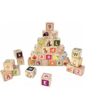 Dřevěné edukační kostky Litera EcoToys 32 kusů