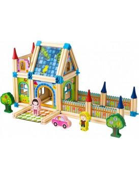 Dřevěné stavební kostičky 6v1 House Ecotoys hnědé