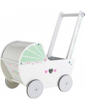 Dřevěný kočárek pro panenky EcoToys bílo-zelený