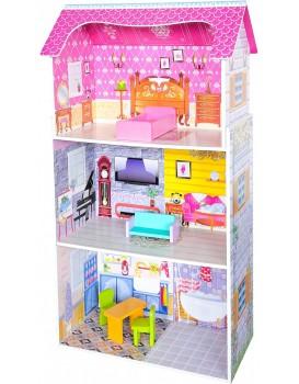 Dřevěný domeček pro panenky EcoToys Rosa růžový + nábytek