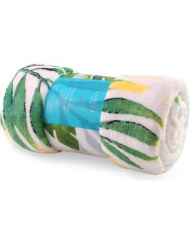 Deka z mikrovlákna AmeliaHome Tropical bílo-zelená