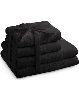 Sada bavlněných ručníků AmeliaHome AMARI černá