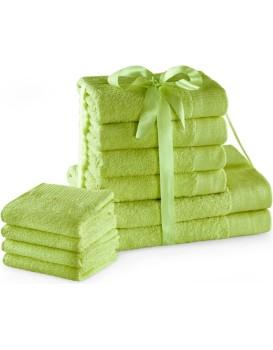 Sada bavlněných ručníků AmeliaHome AMARI 2+4+4 ks světle zelená